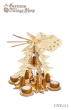 German wooden Christmas pyramid, Christmas decorations, Christmas pyramid with fan, spinning top, nativity pyramid