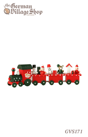 German wooden Christmas decorations, wooden train with 3 carriages