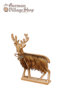 Christmas Decoration - Wooden Deer with Dark Fur 21cm
