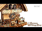 Video of 8 day mechanical cuckoo clock with Coo Coo call with moving wood sawyer men and music