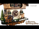 Video of battery operated cuckoo clock with Coo Coo call with moving rocking horse and water wheel with music
