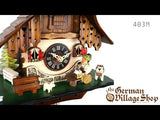 Video of 1 day mechanical chalet cuckoo clock with Coo Coo call and moving beer drinker