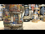 German beer stein with rustic finish and German cities. Featured in The German Village Shop Hahndorf South Australia