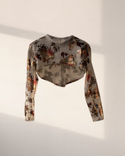 *PRE-ORDER* FLORAL METALLIC FOIL LONG SLEEVE HIGH-LOW SCUBA KNIT CROPTOP (WHITE)
