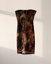 *PRE-ORDER* TWO-TONED ABSTRACT CAMO PRINTED TUBE DRESS (RED/GREEN)