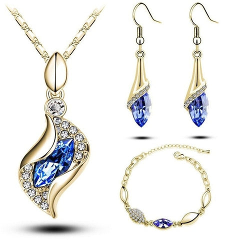 Gifts Sales MODA Elegant Luxury Design New Fashion  Gold Filled Colorful Austrian Crystal Drop Jewelry Sets Women - no bra club