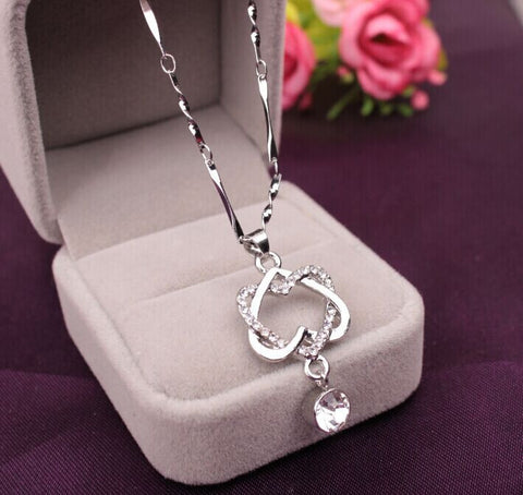 Fashion Women Double Heart Pendant Necklace Chain Jewelry - no bra club