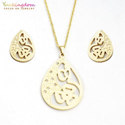 Yunkingdom rhinestone crystal titanium jewelry sets for women stainless steel pendant necklace earring sets UE0164 - no bra club