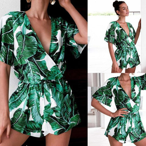 Tropical Plants Short Sleeve Romper - no bra club
