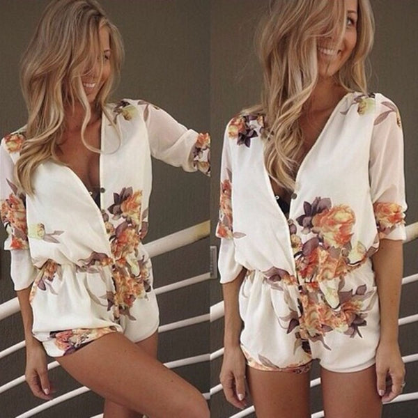 Flower Playsuit Romper - no bra club
