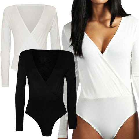 Wrap Over V Neck Plunge Romper - no bra club