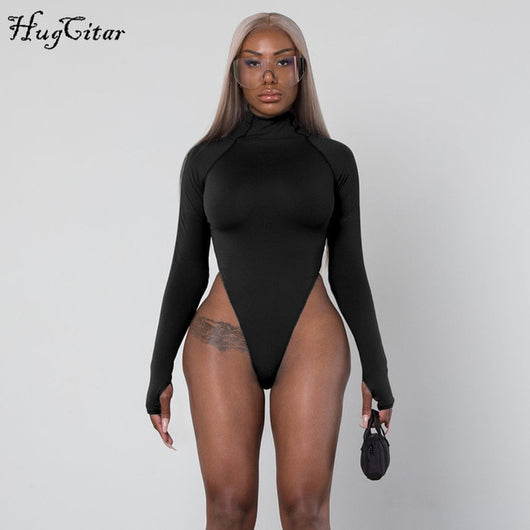 Long sleeve high neck bodycon - no bra club