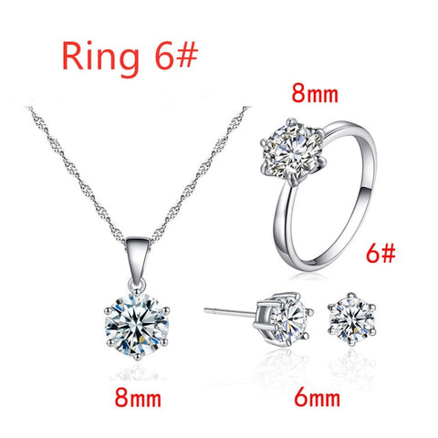 Hot Sale Classic Six Paws 1 Carat Zirconia Statement Necklace Luxury Women Wedding Necklace Earrings Ring Bridal Jewelry Set - no bra club
