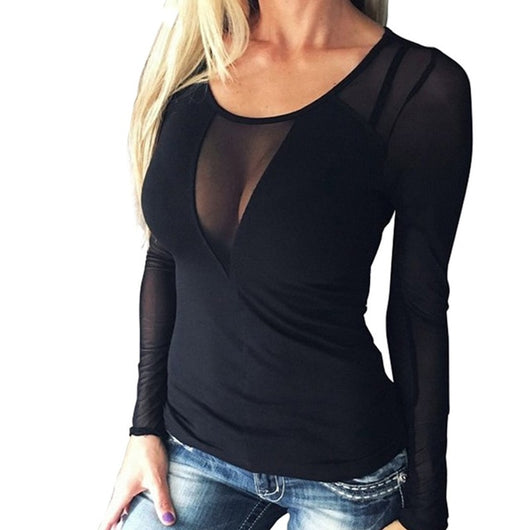 Sexy Splice Long Sleeve Top - no bra club