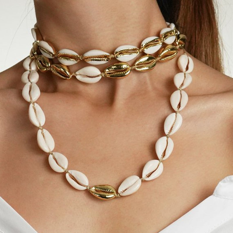 Shell Necklace Bracelet Set - no bra club
