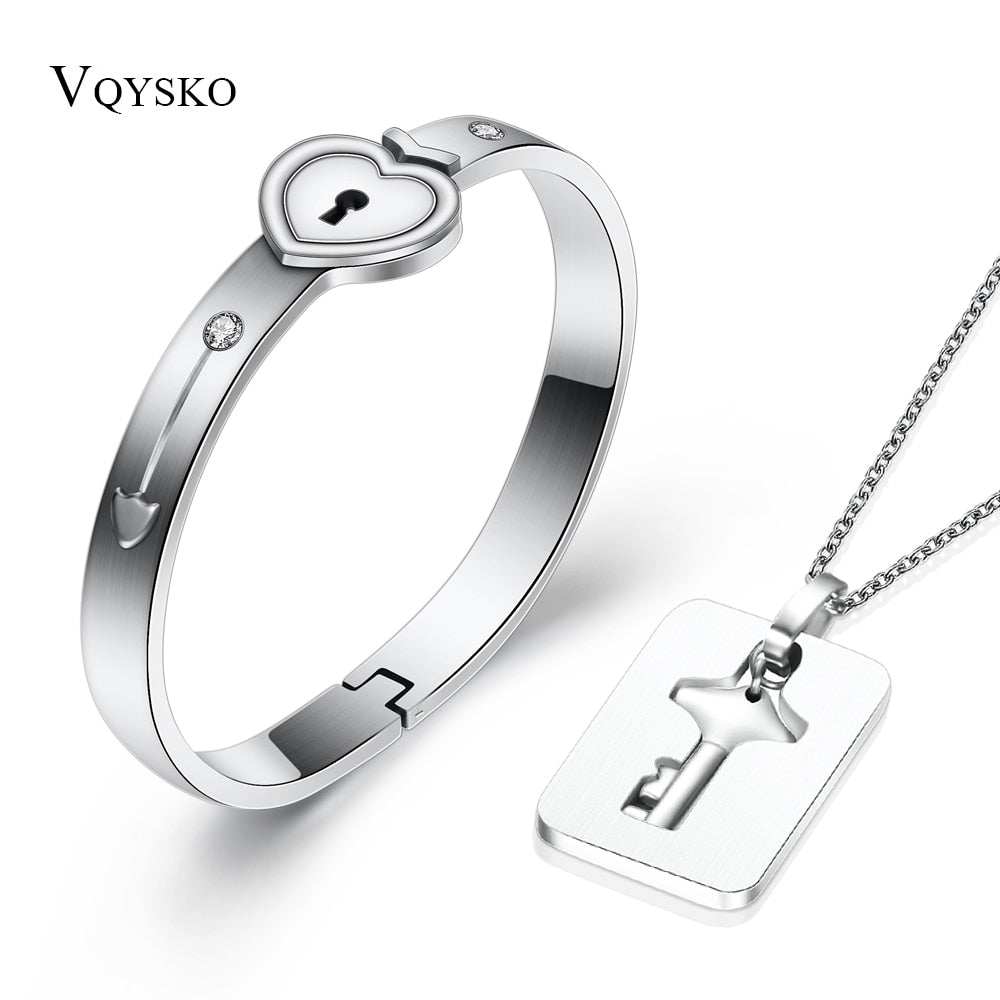 Fashion A Couple Jewelry Sets For Lovers Stainless Steel Love Heart Lock Bracelets Bangles Key Pendant Necklace Couples Set - no bra club