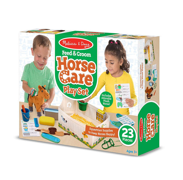 Melissa & Doug Feed & Groom Horse Care Play Set with Plush Animals