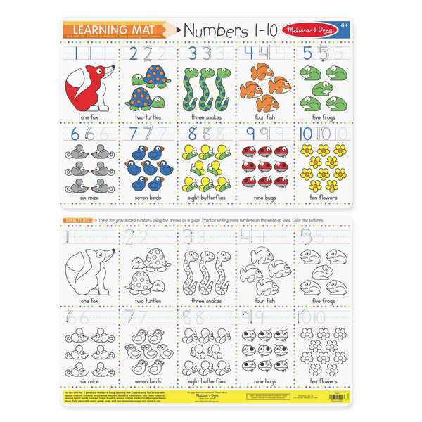 Wipe Off Learning Mats - Numbers 1-10