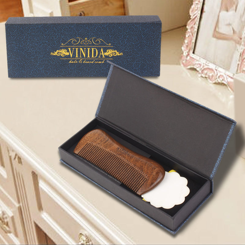 Handmade Beard and Hair Wood Comb - Black Sandalwood Fine Teeth brush with Carved Pattern and Gift Box - Vinida Beauty
