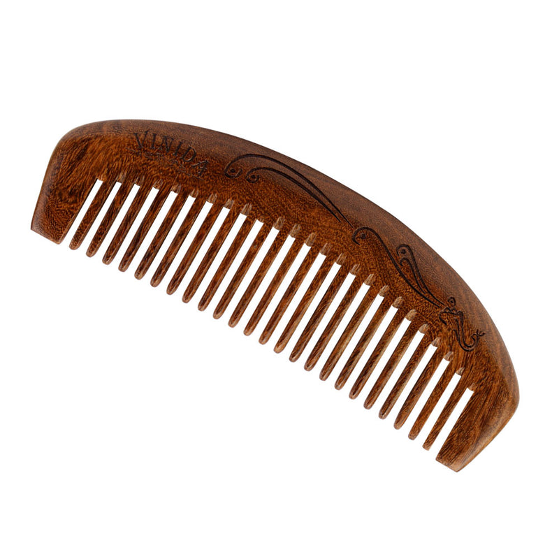 Wood Comb for Thick Curly Hair and Beard - Black Sandalwood Handmade Carved Pattern Wide Tooth Comb with Gift Box - Vinida Beauty