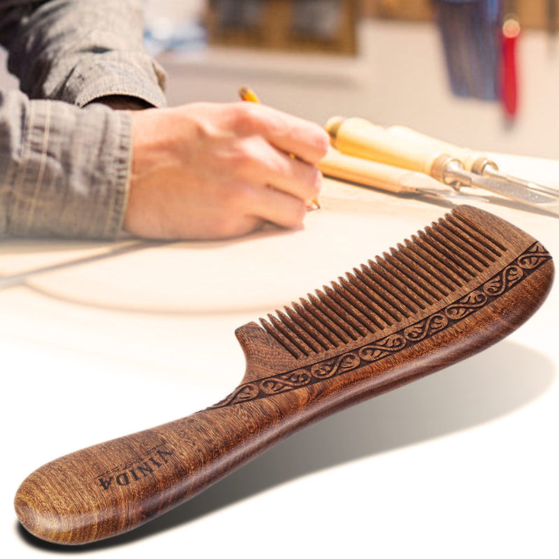 Handcrafted Ebony Wood Comb - Anti Dandruff, No Static and No Snag with Carved Pattern and Gift Box - Vinida Beauty