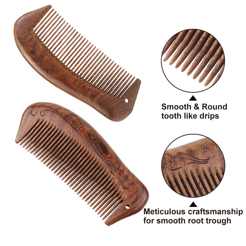 Wood Hair Comb - Fine Teeth with Carved Pattern Handmade Brush With Gift Box (Anti-Static and No Snag) - Vinida Beauty
