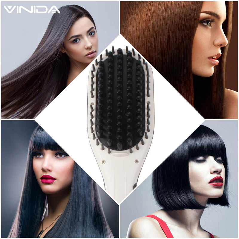 Hair straightening Brush Professional Comb Ceramic straighter Fast Natural Straight Hair Styling - Vinida Beauty