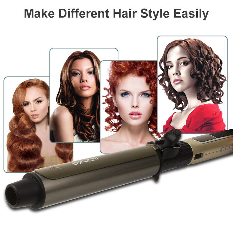 Hair Curling Iron 1.25 inch -  Hair Curling Wand with Tourmaline Ceramic Coating and Anti-scalding Insulated Tip for Long Lasting Curls & Waves - Vinida Beauty