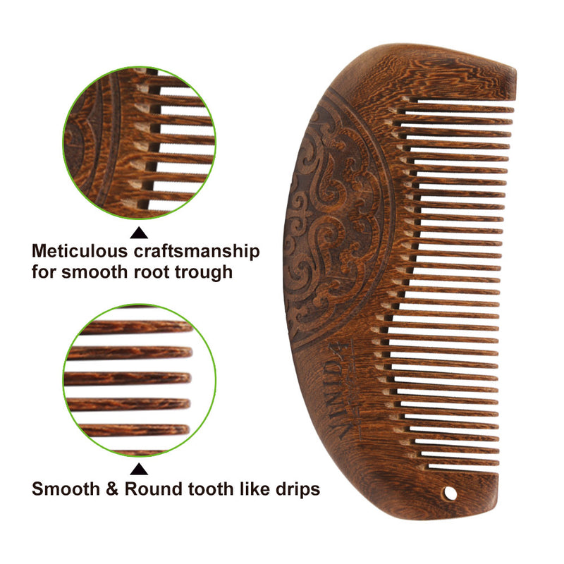 Ebony Wood Comb - Fine Teeth with Anti-Static and No Snag and Carved Pattern  with Gift Box - Vinida Beauty