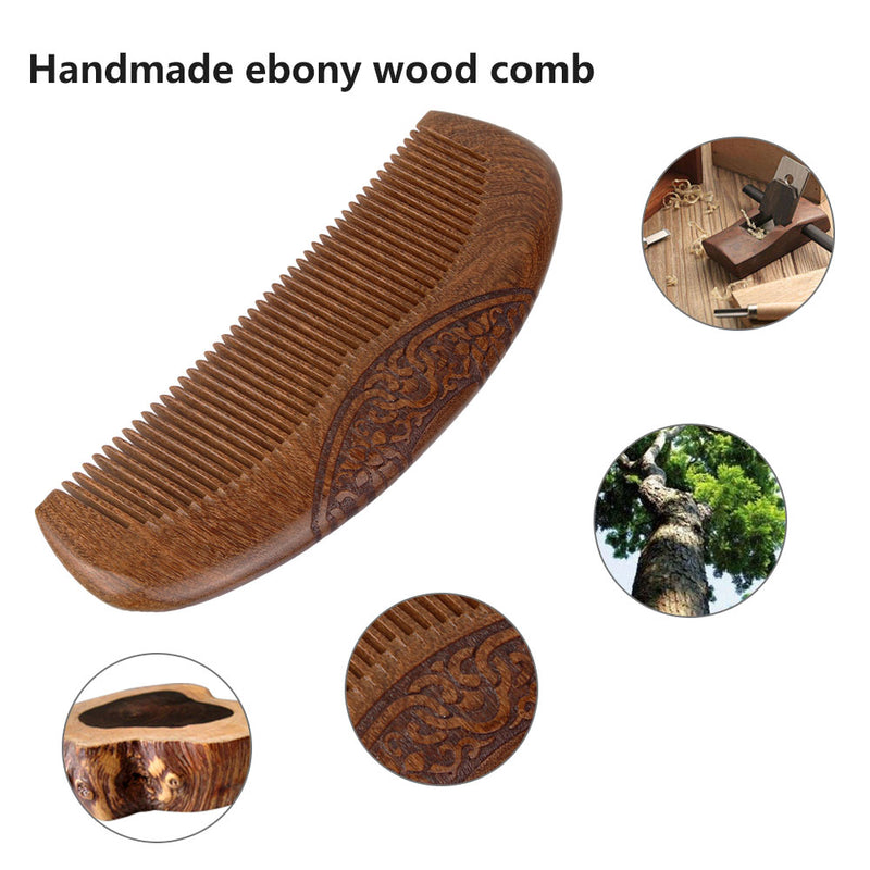 Wood Pocket Comb  - Black Sandalwood with Carved Pattern and Gift Box(Fine Teeth, Anti-Static and No Snag) - Vinida Beauty