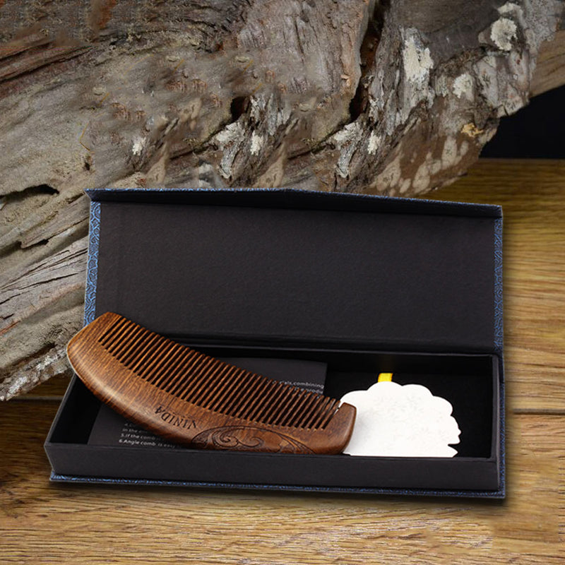 Wood Pocket Comb- Black Sandalwood with Carved Pattern and Gift Box(Fine Teeth, Anti-Static and No Snag) - Vinida Beauty