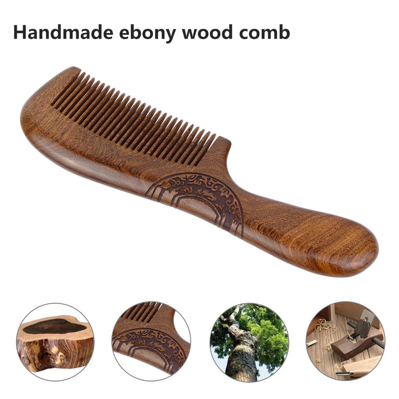 Fine Tooth Wood Comb - Black Sandal Wooden Brush with Carved Pattern- No Static Smooth Handle with Gift Box - Vinida Beauty