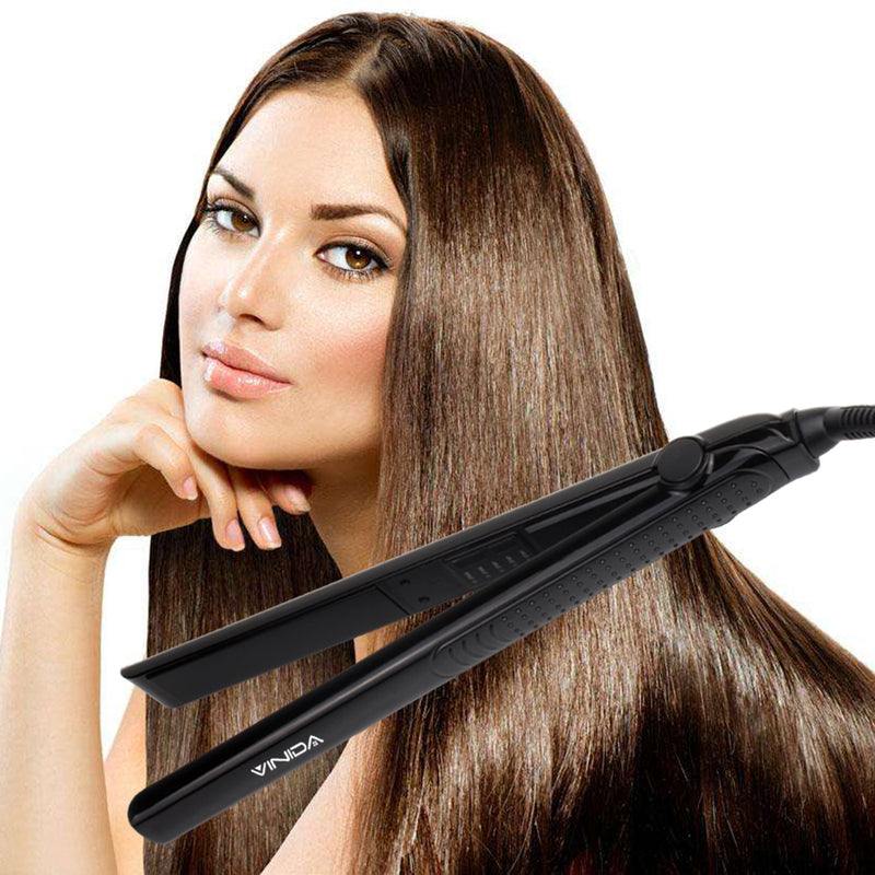 Hair Straightener Flat Iron - 1 Inch Ceramic Tourmaline Ionic Iron with Adjustable Temperature for All Hair Types - Vinida Beauty