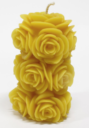 Beeswax Candle - Tall Roses