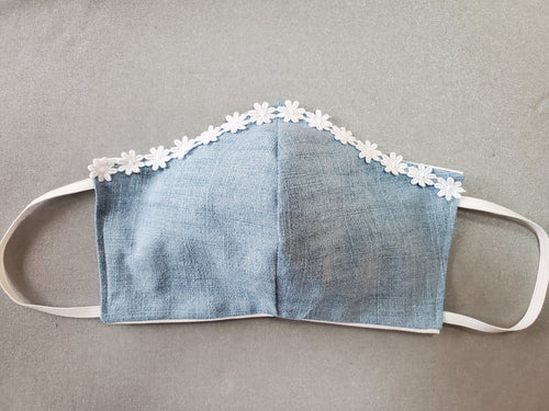Upcycled Denim Teens/Ladies Cloth Face Mask with Daisy Trim