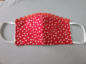 Limited Edition Red Polka Dot Face Mask with Red Ric-Rac Trim