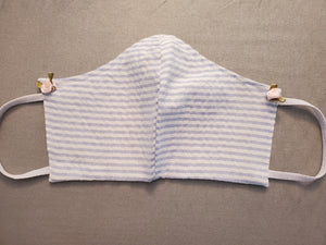 Face Masks - Blue White Gingham with Rosettes