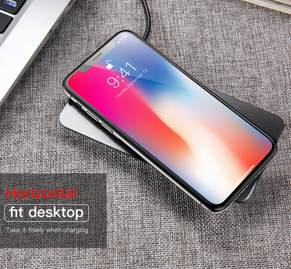 Baseus 10w Quick Wireless Charger For Iphone X 8 Samsung S8 S9 Desktop Note Fast