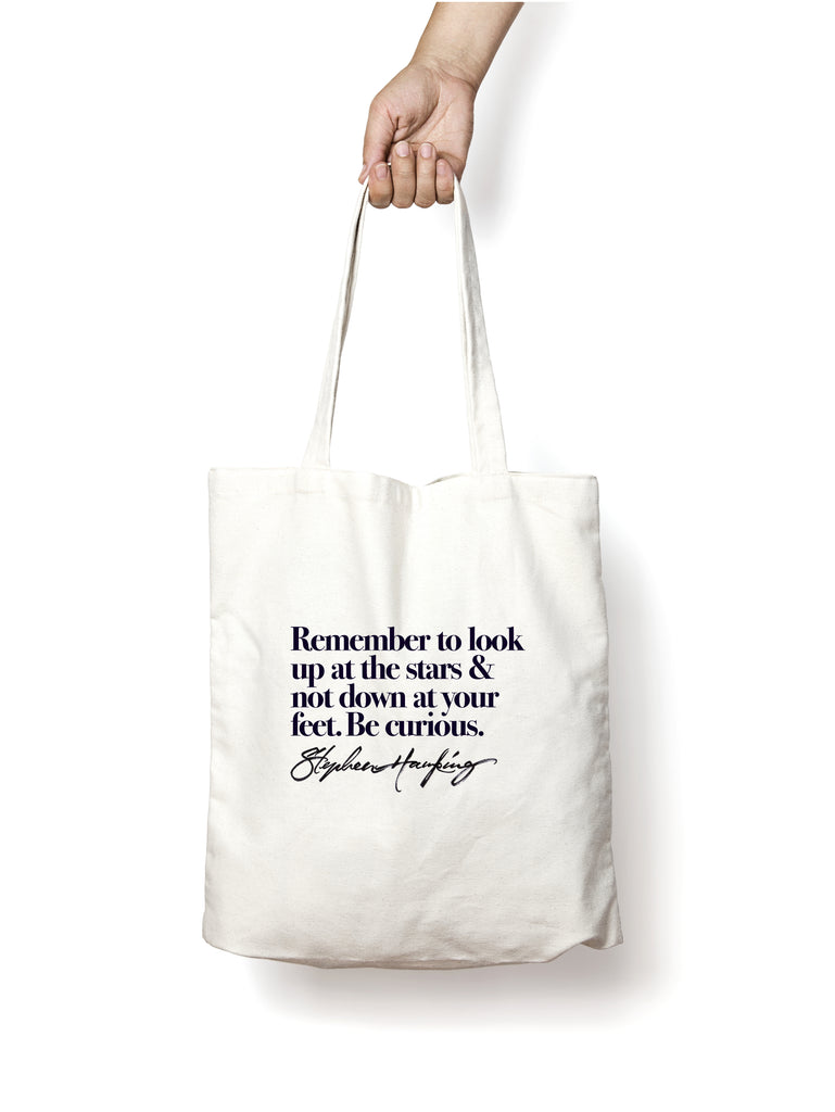 Hawking's quote Totebag \ Look up to the stars - Lloria's