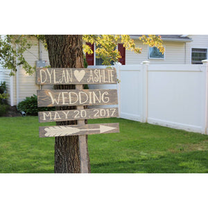 Hand made and distressed wedding sign - White Hydrangea Gifts