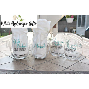 Set of 4 Stemless Wine Glasses - White Hydrangea Gifts