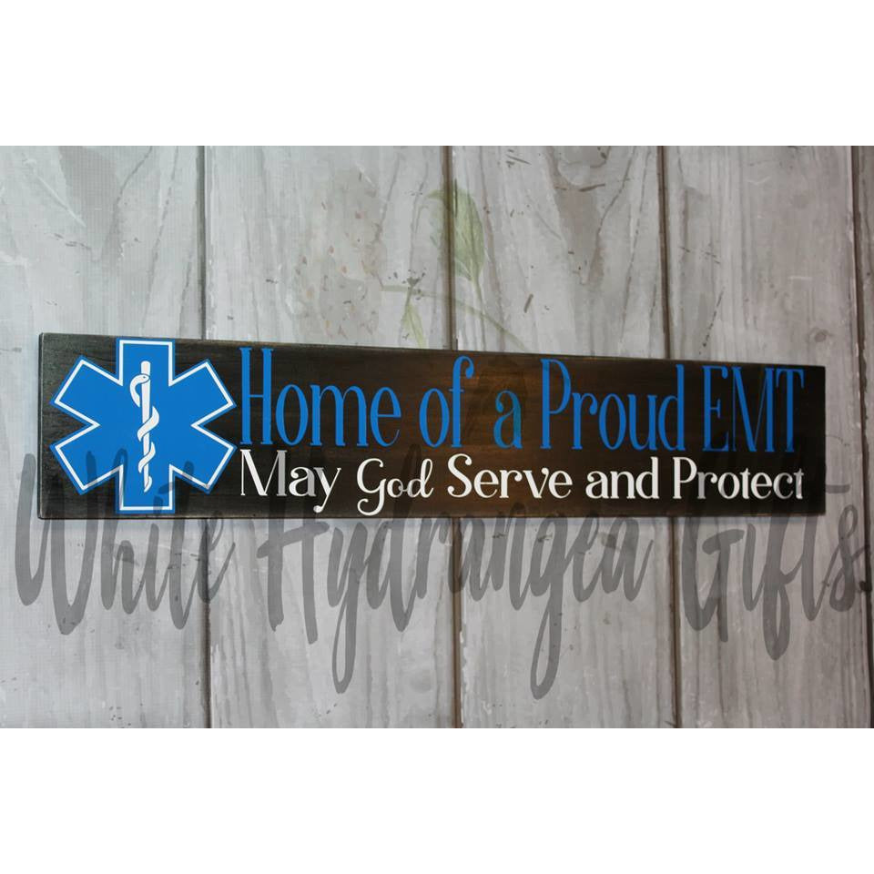 EMT Hand Made Sign - White Hydrangea Gifts