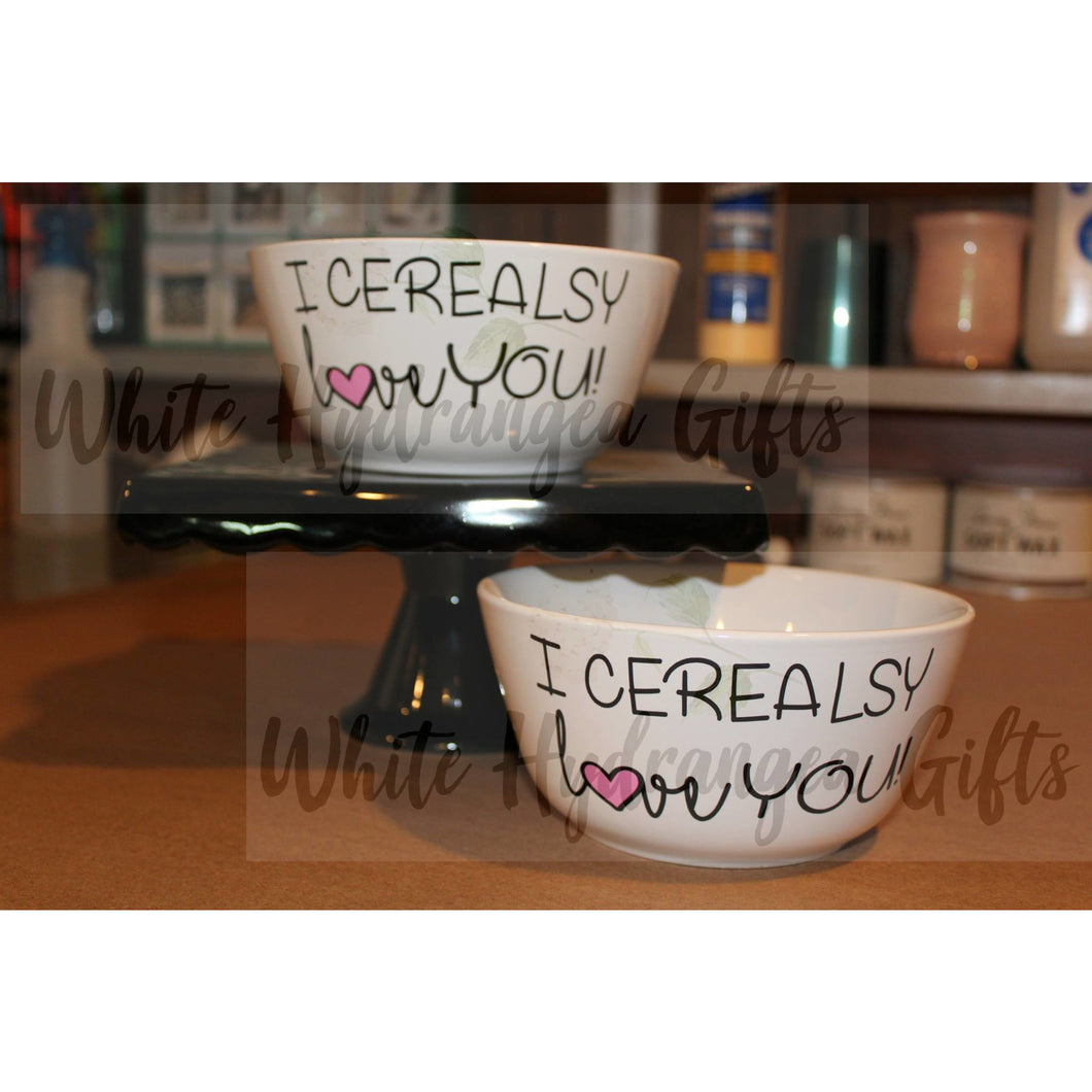 Personalized Oversize Cereal Bowl - White Hydrangea Gifts