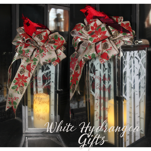 Memorial Lantern  Ready to Ship - White Hydrangea Gifts