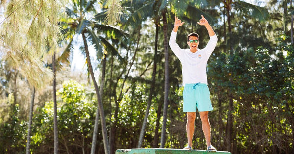 Man in Hawaii wearing Southern Tide Swim Trunks