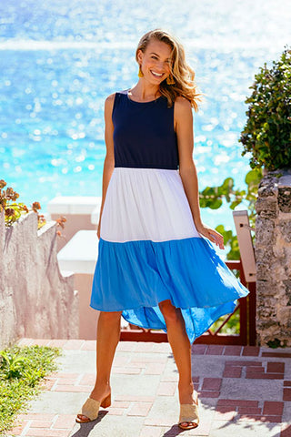 Woman wearing a dress that is an option for a bridal shower look