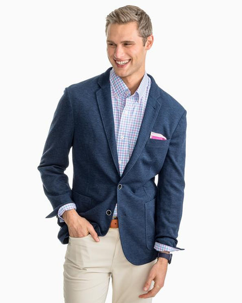 man in blazer wearing southern tide