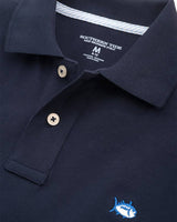 The front view of the Kid's Navy Skipjack Polo Shirt by Southern Tide