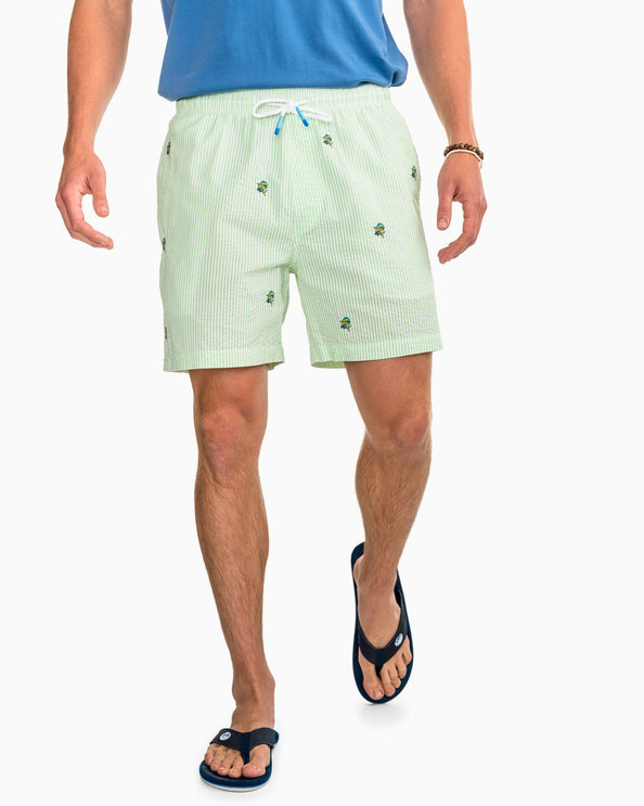 Image of Mahi Mahi Embroidered Seersucker Swim Trunk
