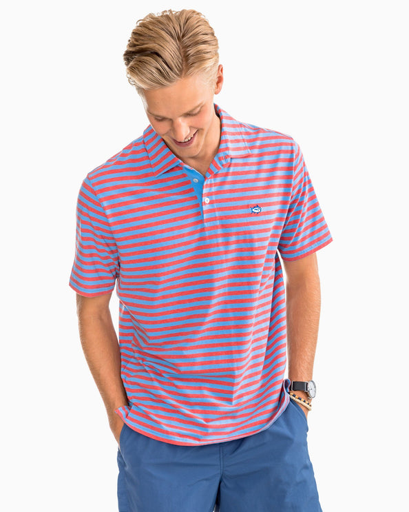 Image of Heathered Channel Marker Stripe Polo